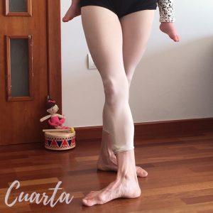 piernas con medias rosas que muestran la cuarta posición del ballet