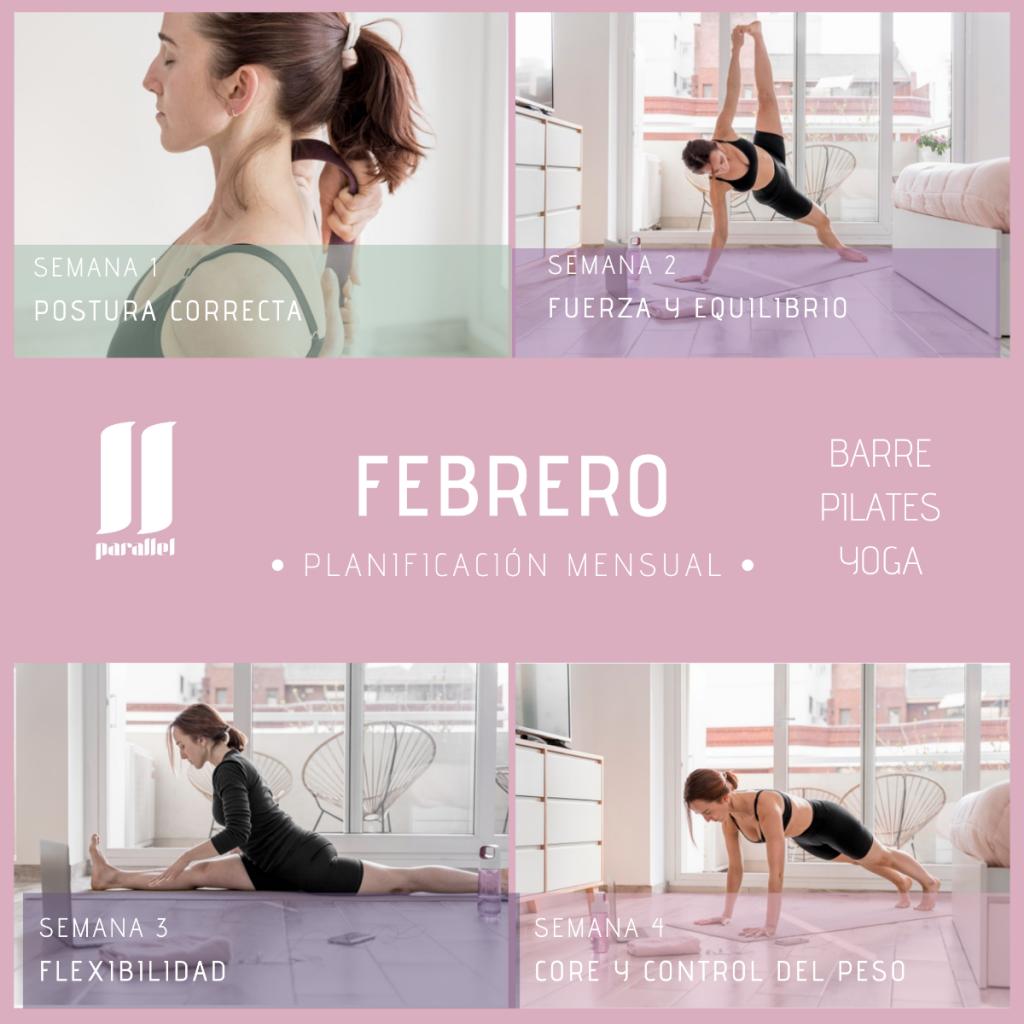 programa de entrenamiento barre, pilates y yoga para febrero