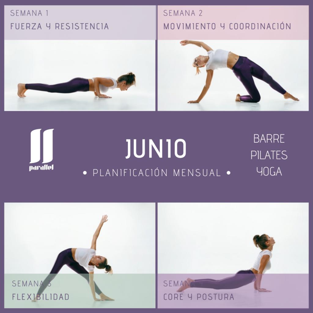 Cartel con programa de entrenamiento para el mes de junio