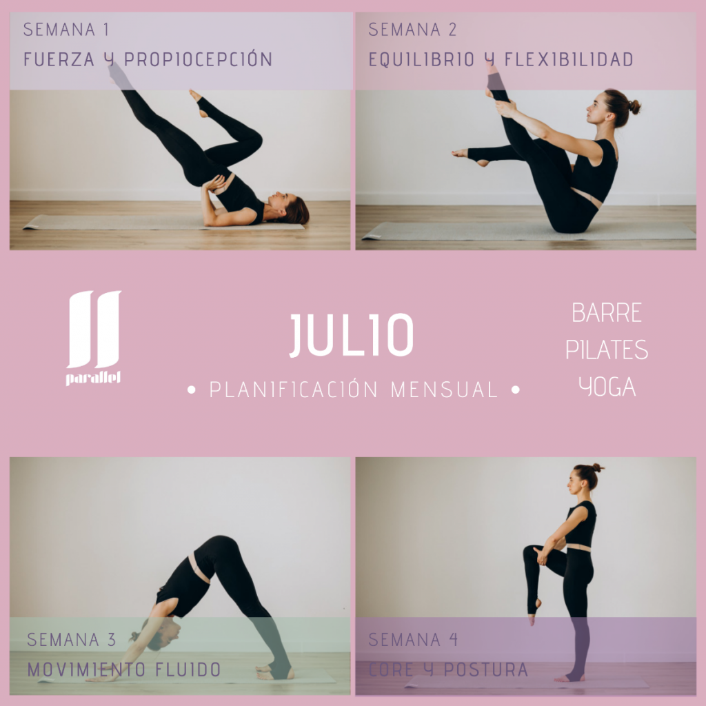 programa de entrenamiento para el mes de julio de barre pilates y yoga