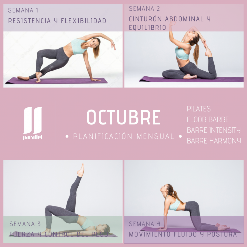 programa de ejercicios de barre y pilates para octubre